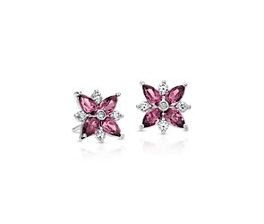 Rhodolite Garnet and Diamond Cluster Stud Earrings in 14k White Gold