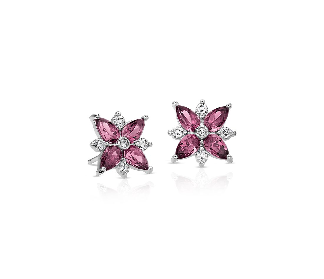 Rhodolite Garnet and Diamond Cluster Stud Earrings in 14k White Gold (5x3mm)