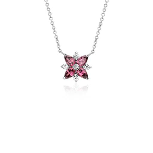 Rhodolite Garnet and Diamond Cluster Necklace in 14k White Gold