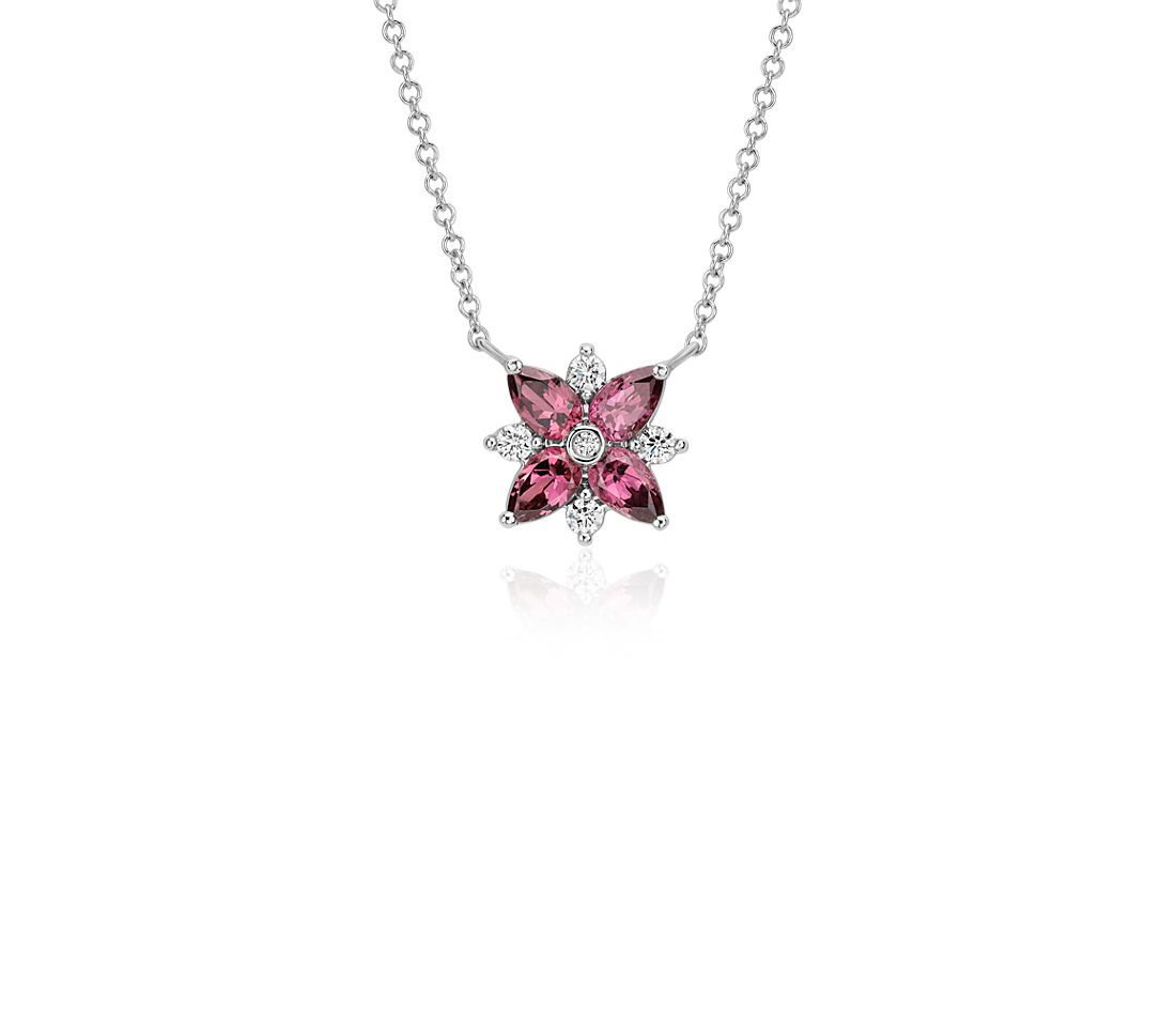 Rhodolite Garnet and Diamond Cluster Necklace in 14k White Gold (5x3mm)