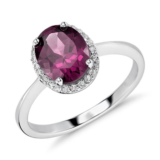 Oval Rhodolite Garnet and White Topaz Halo Ring in Sterling Silver