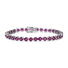 Rhodolite Bracelet in Sterling Silver (4mm)