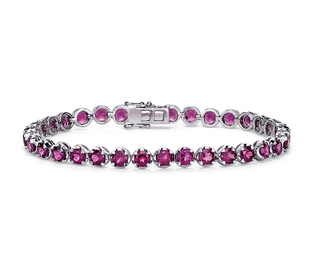 Rhodolite Garnet Bracelet in Sterling Silver (4mm)