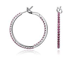 Garnet Hoop Earrings in Sterling Silver