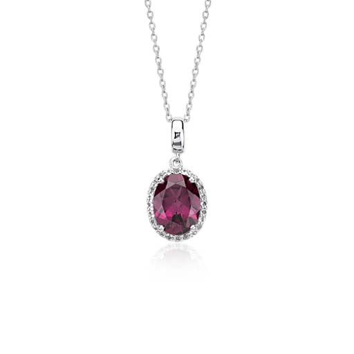 Oval Rhodolite Garnet and White Topaz Halo Pendant in Sterling Silver