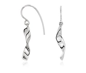 Ribbon Drop Earring in Sterling Silver
