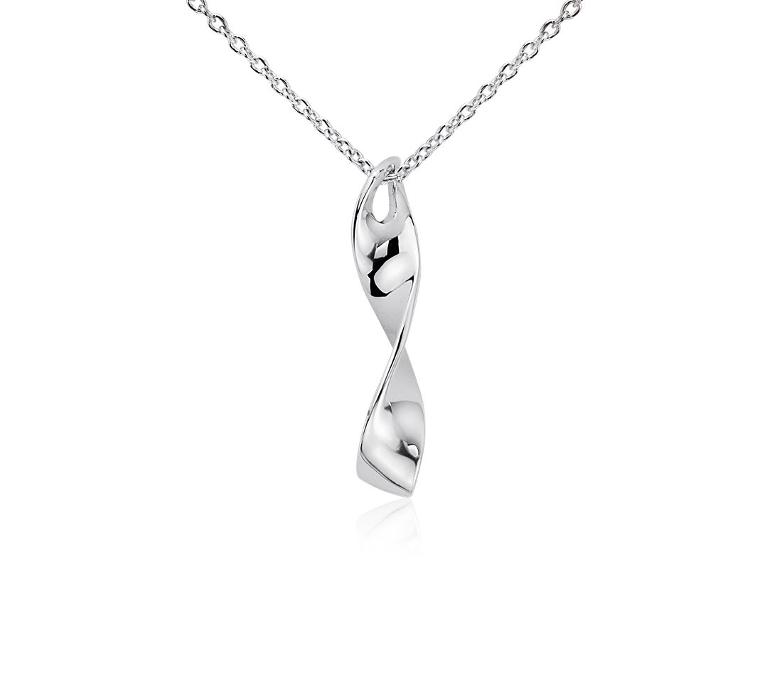 Ribbon Pendant in Sterling Silver
