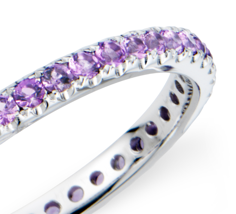 Riviera Pavé Amethyst Eternity Ring in 18k White Gold