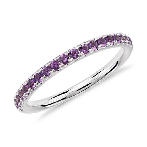 Riviera Pavé Amethyst Ring in 14k White Gold (1.5mm)