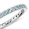 Riviera Pavé Aquamarine Eternity Ring in 18k White Gold