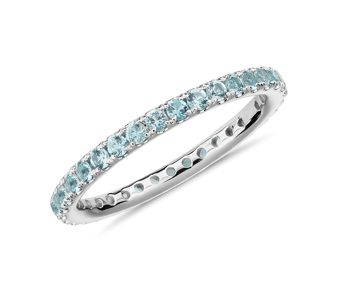 Riviera Pavé Aquamarine Eternity Ring in 18k White Gold