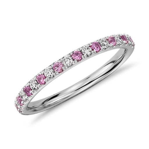 Riviera Pavé Pink Sapphire and Diamond Ring in 14k White Gold (1.5mm)