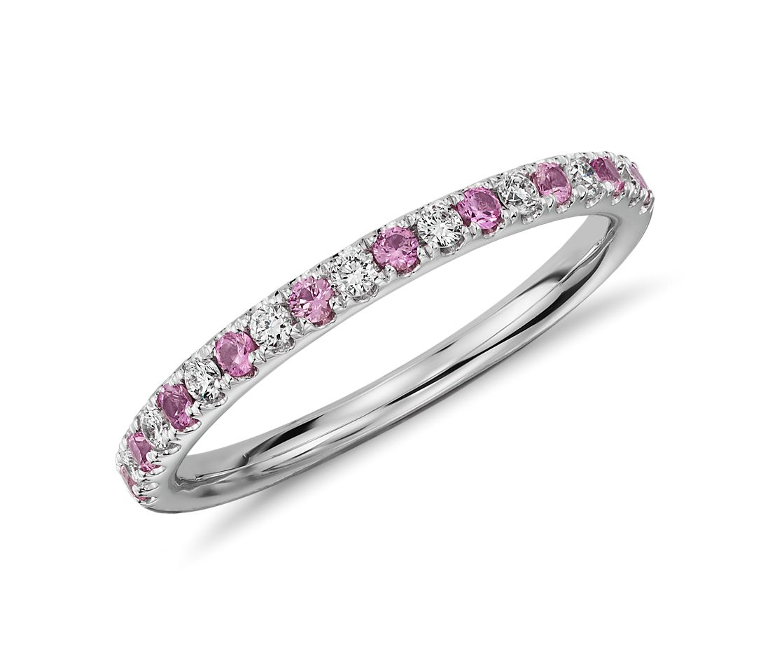 Riviera Pave Pink Sapphire and Diamond Ring in 14K White Gold