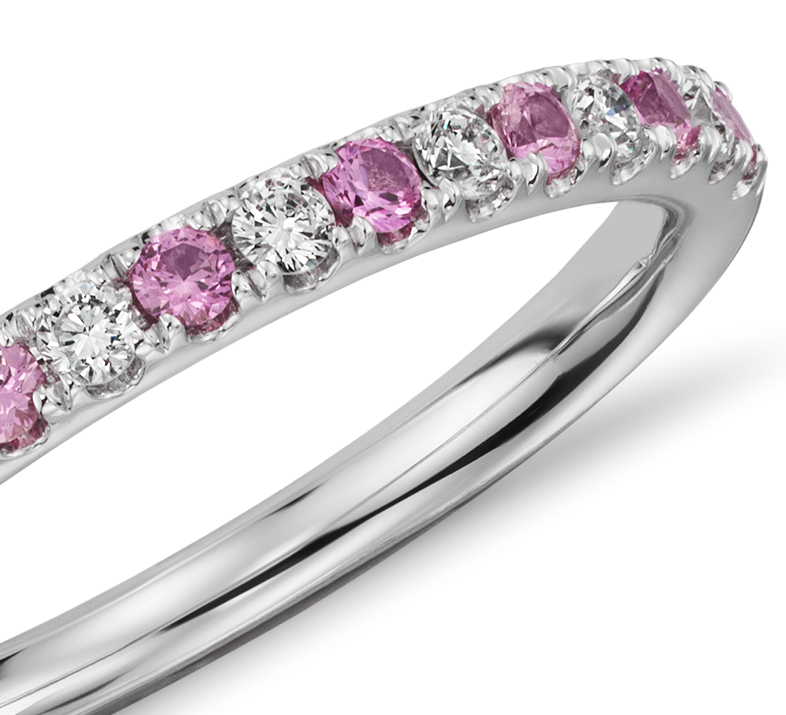 Riviera Pavé Pink Sapphire and Diamond Ring in 14K White Gold