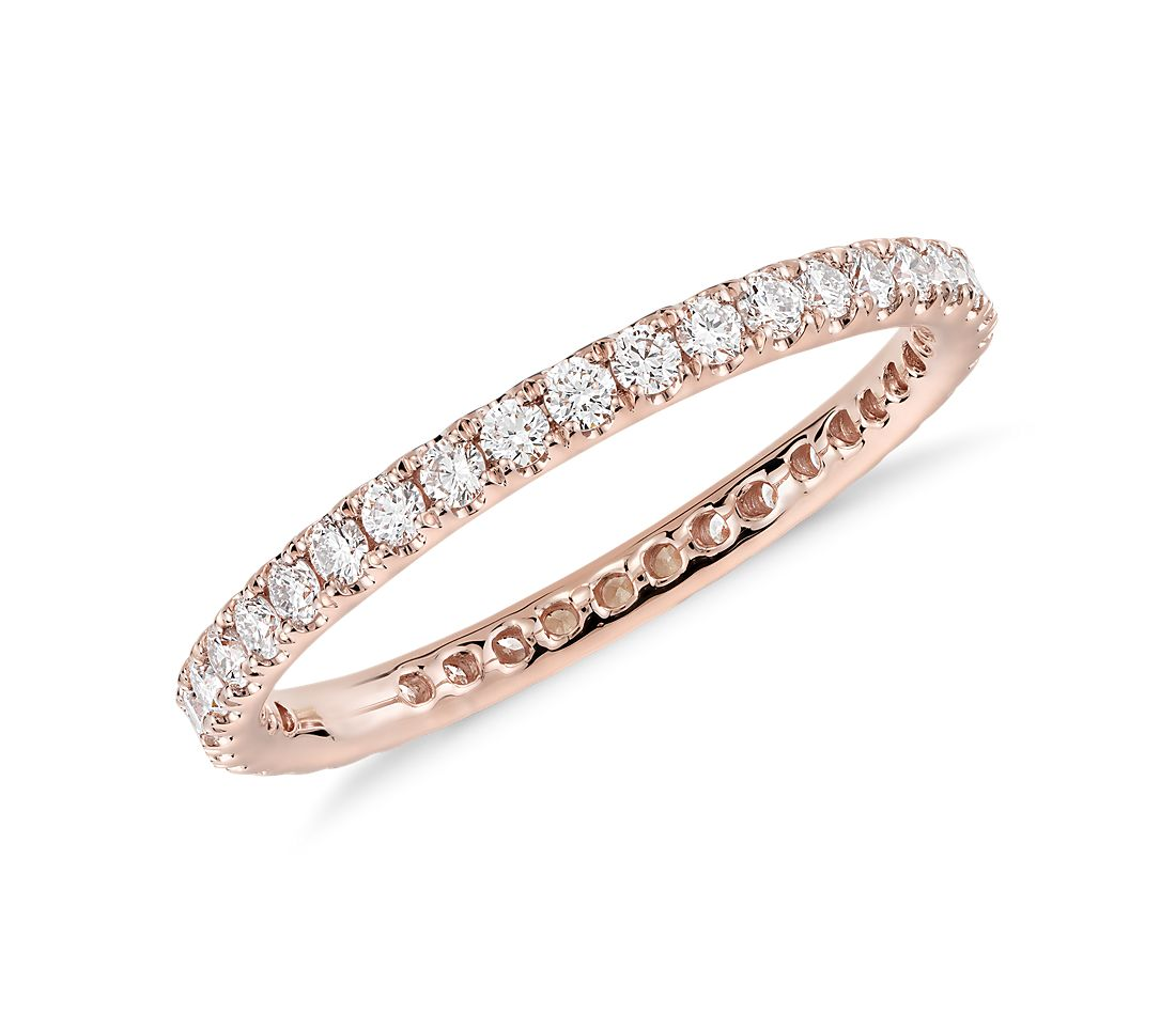 riviera pav diamond eternity ring in 14k rose gold 1 2. Black Bedroom Furniture Sets. Home Design Ideas