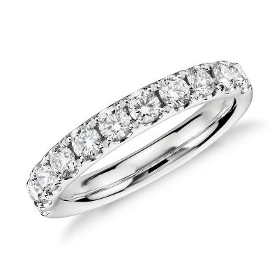 Bague diamant serti pavé Riviera en platine (3/4carat, poids total)