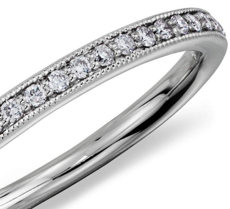 Bague diamant de famille serti pavé Riviera en platine (1/8carat, poids total)