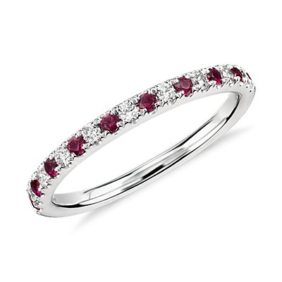 NEW Riviera Pavé Ruby and Diamond Ring in 14k White Gold (1.5mm)