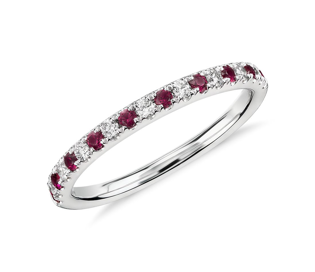Riviera Pav 233 Ruby And Diamond Ring In 14k White Gold 1