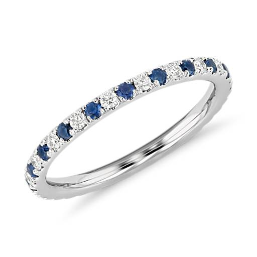 Riviera Micropavé Sapphire and Diamond Eternity Ring in 14K White Gold