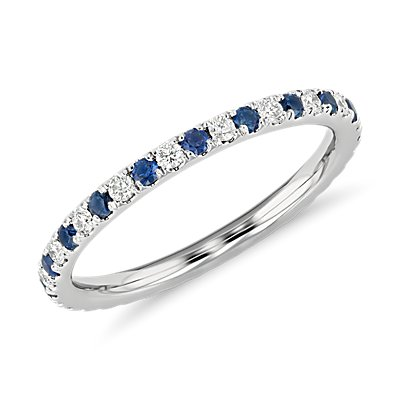 NEW Riviera Pavé Sapphire and Diamond Eternity Ring in 14k White Gold (1.5mm)