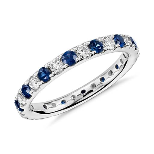 NEW Riviera Pave Sapphire and Diamond Eternity Ring in Platinum (2/3 ct. tw.)