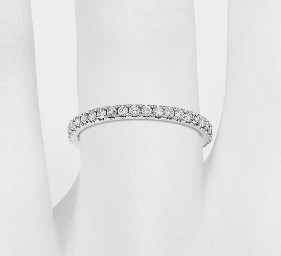 14k 白金 Riviera 密釘鑽石永恆戒指( 1/2 克拉總重量)