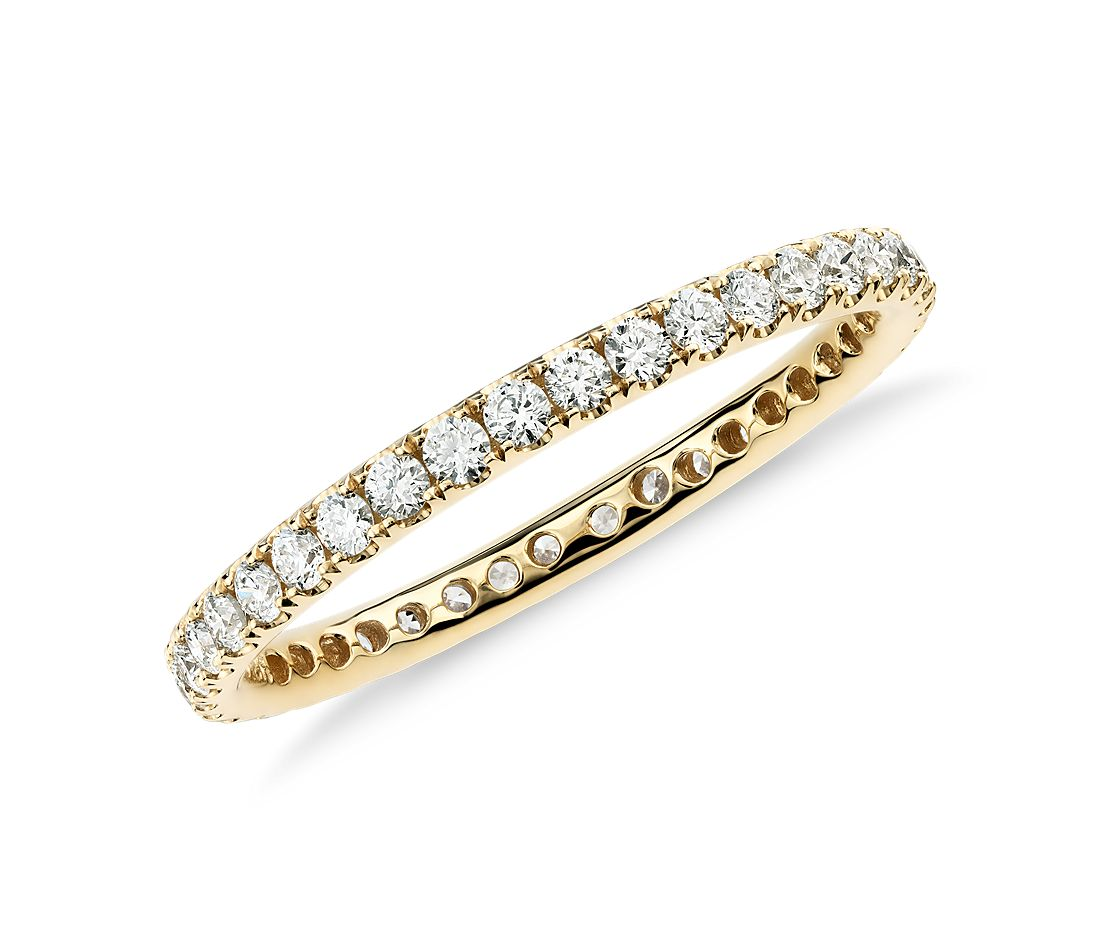 Riviera Pav 233 Diamond Eternity Ring In 18k Yellow Gold 1 2 Ct Tw Blue Nile