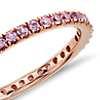 Alianza de eternidad Riviera con pavé de zafiros rosados en oro rosado de 18k (1,5mm)