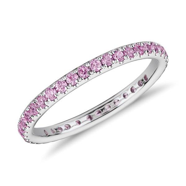 18k 白金Riviera 密釘粉紅藍寶石永恆戒指( 1.5毫米)