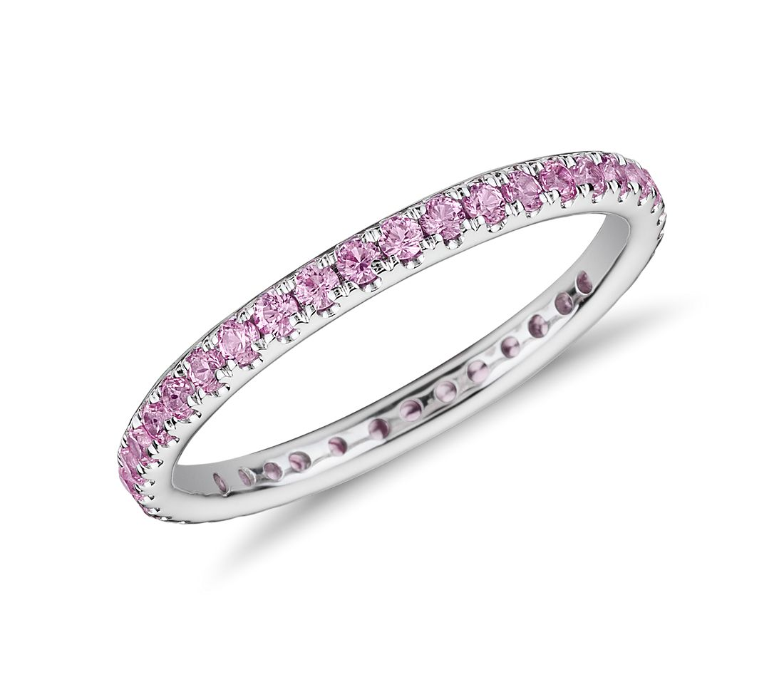 riviera pav 233 pink sapphire eternity ring in 18k white gold