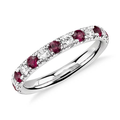 Riviera Pavé Ruby and Diamond Ring in Platinum (2.2mm)