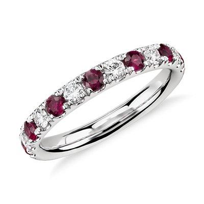 Bague diamant et rubis sertis pavé Riviera en platine (2,2mm)