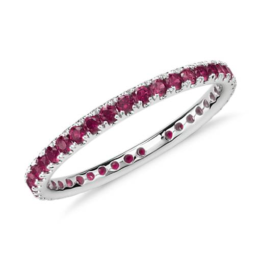 NEW Riviera Pavé Ruby Eternity Ring in 18k White Gold (1.5mm)