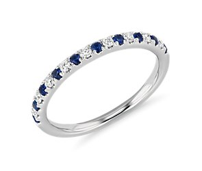 Riviera Pave Sapphire and Diamond Ring in 14k White Gold (1.5mm)
