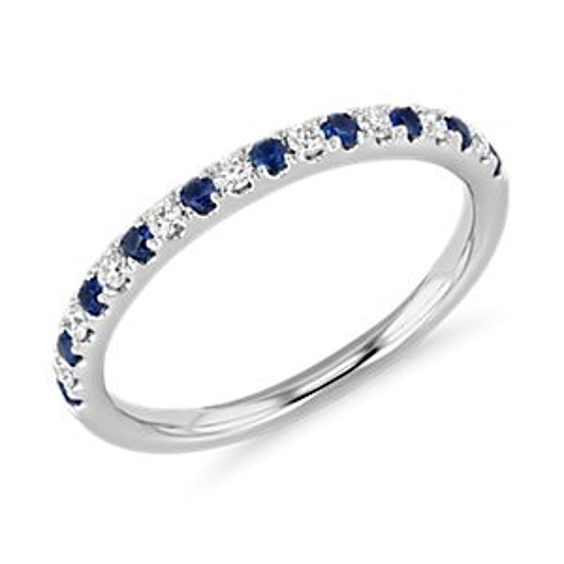 14k 白金Riviera 密釘藍寶石與鑽石戒指( 1.5毫米)