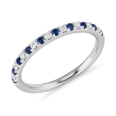 Riviera Pavé Sapphire and Diamond Ring in 14k White Gold 1 5mm