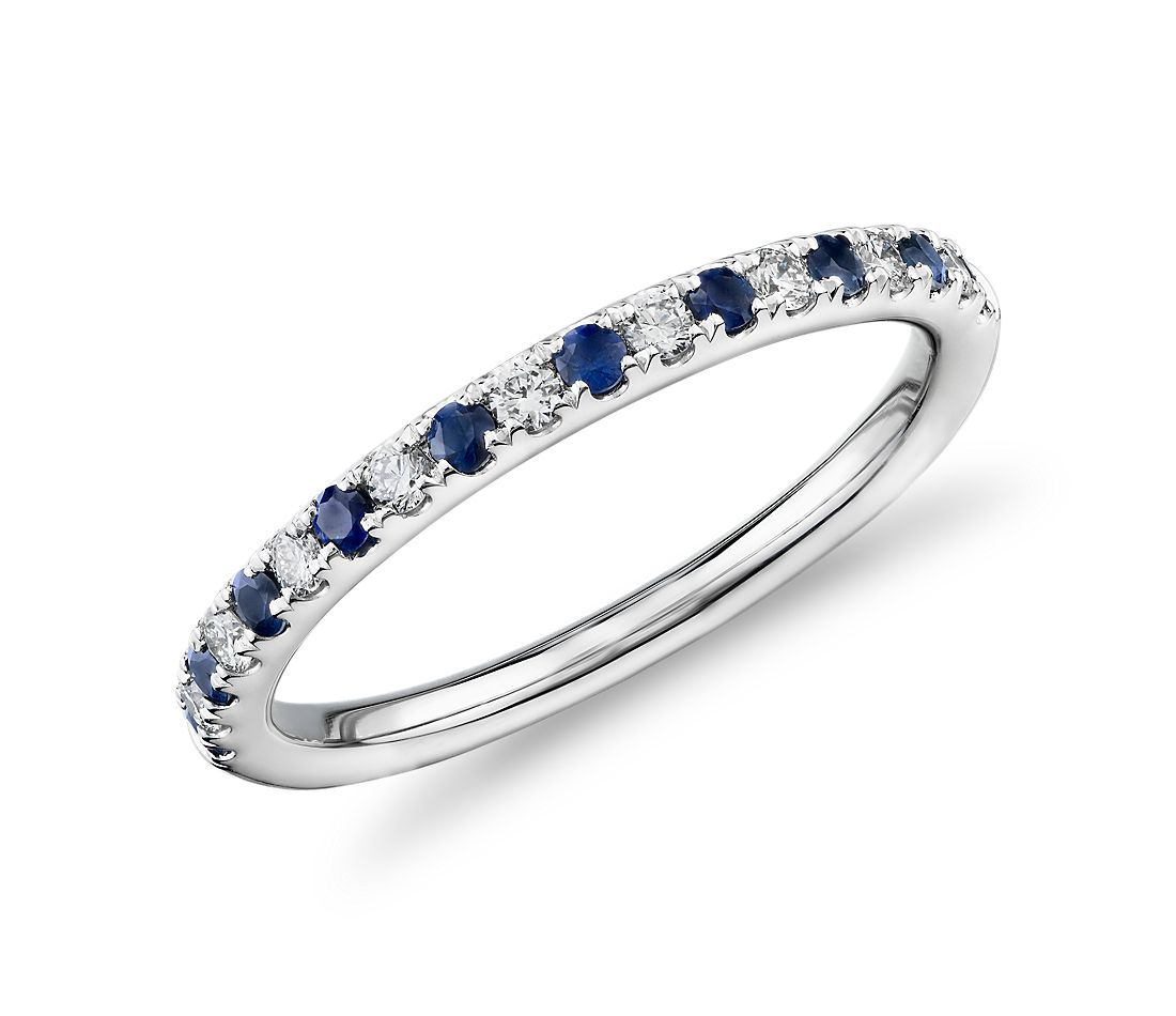 Riviera Pavé Sapphire and Diamond Ring in Platinum 1 5mm