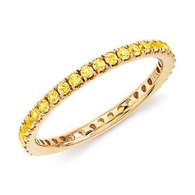 18k 黃金Riviera 密釘黃藍寶石永恆戒指( 1.5毫米)
