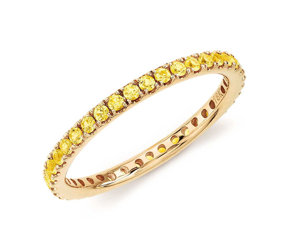 Riviera Pavé Yellow Sapphire Eternity Ring in 18k Yellow Gold (1.5mm)
