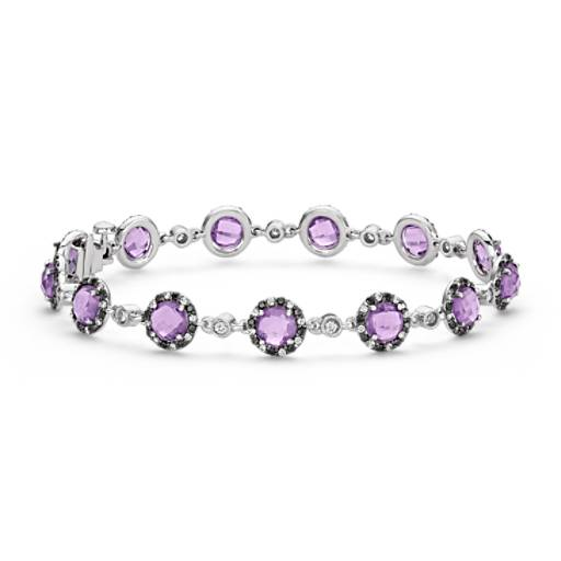 Amethyst and Diamond Bracelet in 14k White Gold