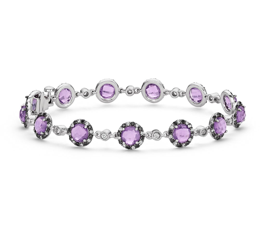 Robert Leser Amethyst and Diamond Bracelet in 14k White Gold