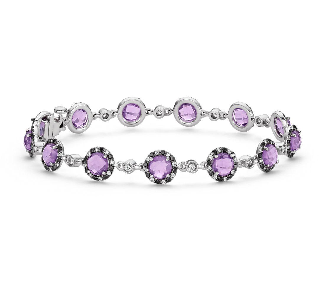 Bracelet diamant et améthyste Robert Leser en or blanc 14carats