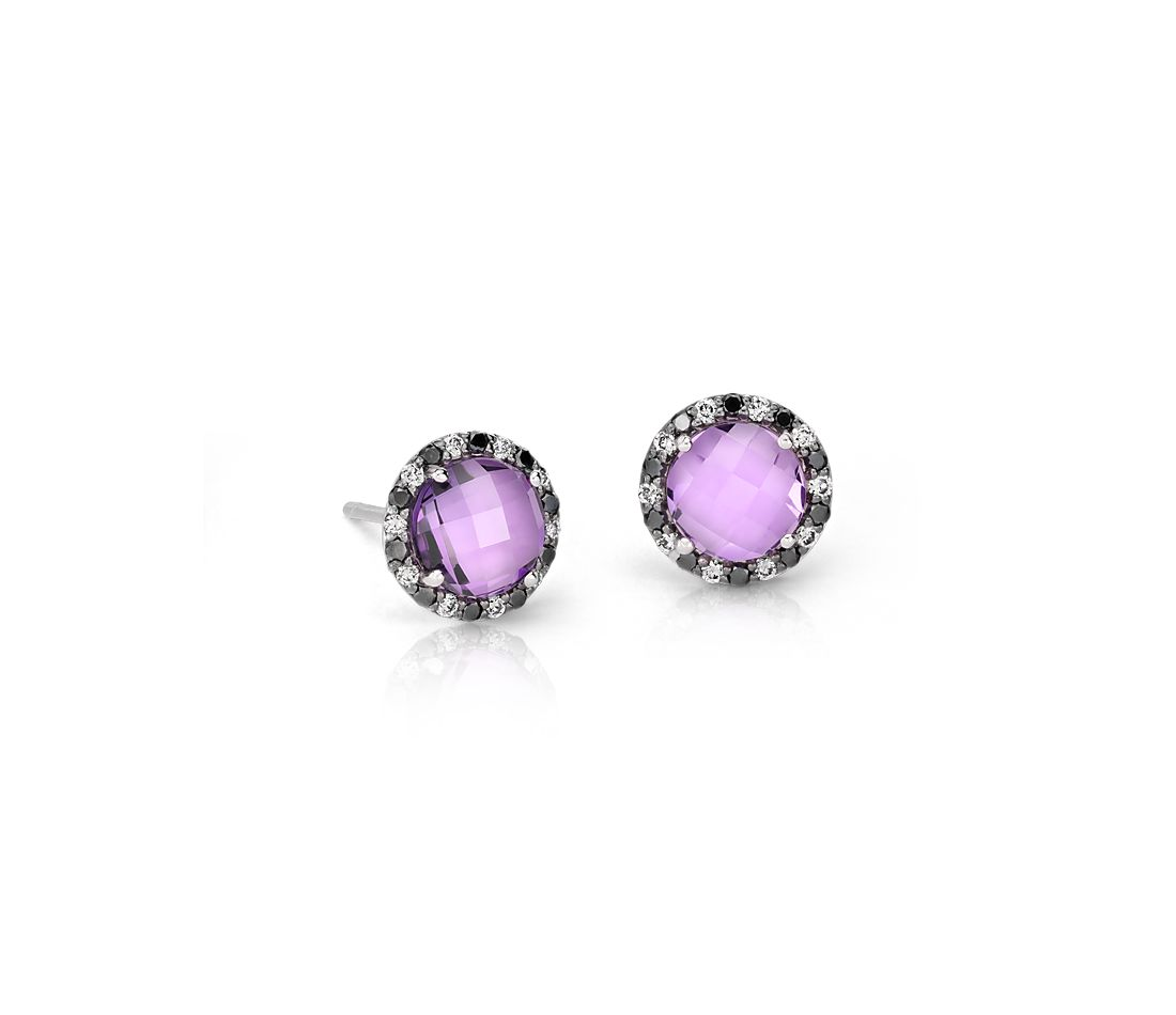 Robert Leser Amethyst and Diamond Halo Stud Earring in 14k White Gold