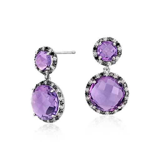 Robert Leser Amethyst and Diamond Drop Earring in 14k White Gold