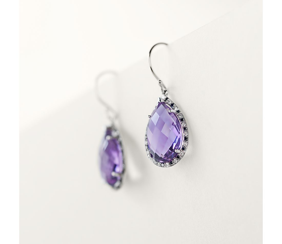 Robert Leser Amethyst and Diamond Pear Drop Earring in 14k White Gold