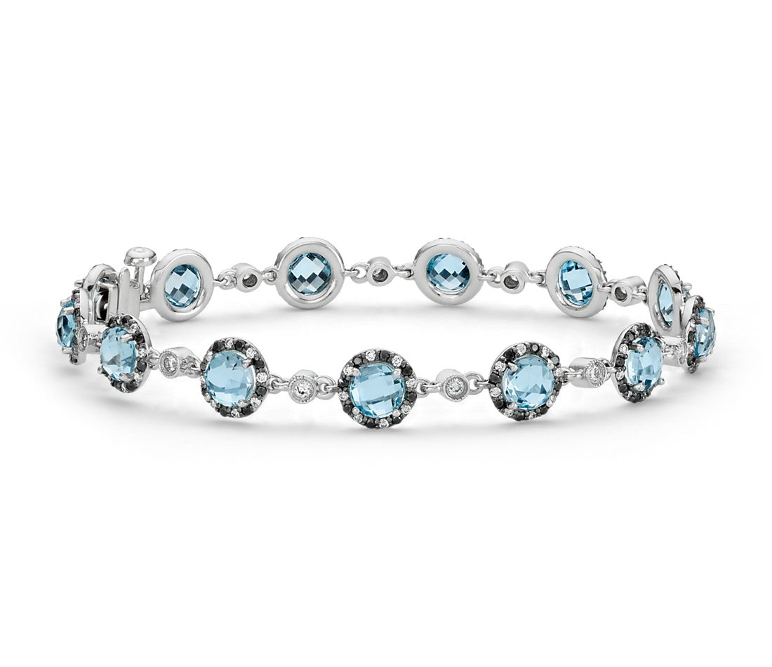 Blue Topaz and Diamond Bracelet in 14k White Gold