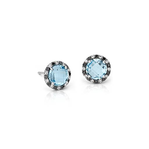 Robert Leser Blue Topaz and Diamond Halo Stud Earring in 14k White Gold (6x6mm)