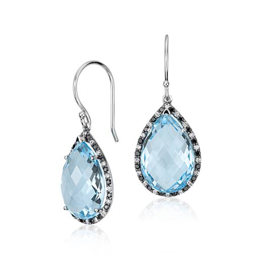 Robert Leser Blue Topaz and Diamond Pear Drop Earring in 14k White Gold