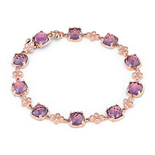 Trinity Amethyst and Diamond Bracelet in 14K Rose Gold